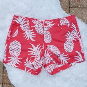 Tori Richard Tropical Pink Pineapple Shorts Size 4
